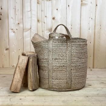 Panier à bûches de bois renforcé en jute naturelle tressée, 45cm de hauteur et 37cm de diamètre.