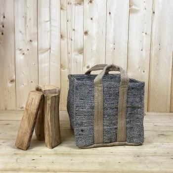 Panier à bûches carré, renforcé en jute naturelle tressée couleur Naturel & Noir, 35cm de hauteur et 35cm de diamètre.
