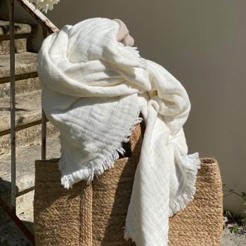 Plaid Ivoire Vanly Harmony, 100% coton avec une finition lavé.