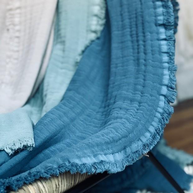 PLAID BLEU STONE (BLEU GRIS DELAVE) coton lavé