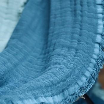 plaid bleu stone en gaze de coton label oekotex