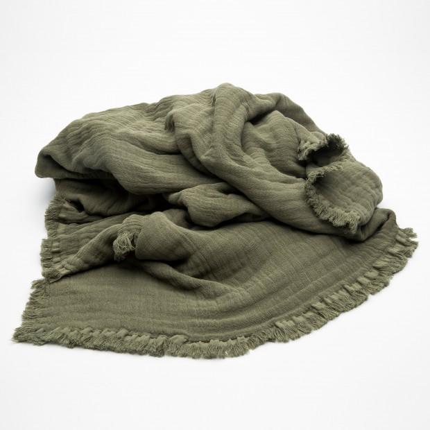Plaid Kaki Vanly Harmonyen coton lavé certifié OEKO-TEX®