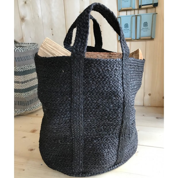 Panier à bûches renforcé en jute naturelle tressée couleur Noir, 45cm de hauteur et 37cm de diamètre.